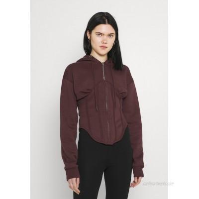 Missguided CORSET HOODY Zipup sweatshirt burgundy/dark red