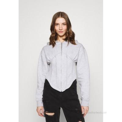 Missguided CORSET HOODY Zipup sweatshirt grey marl/grey