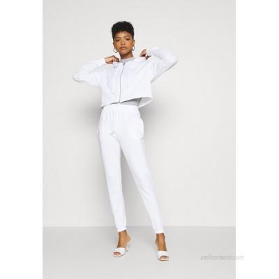 Missguided CROP ZIP HOODY JOGGER SET Zipup sweatshirt white