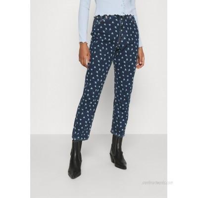 Monki MINI FLOWER Straight leg jeans blue