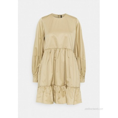 Mother of Pearl SHORT DRESS WITH GATHERED TIERED SKIRT Day dress beige