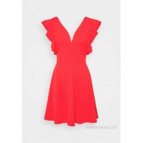WAL G TALL V NECK FRILL SLEEVE DRESS Jersey dress coral