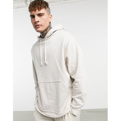 DESIGN organic oversized hoodie with curved hem in grey