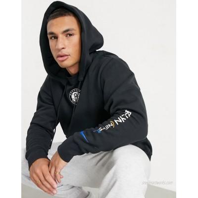 Nike Basketball NBA Brooklyn Nets crown logo hoodie in black