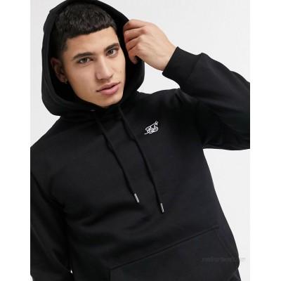 SikSilk muscle fit hoodie in black