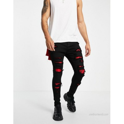 Liquor N Poker skinny jeans in black with red bandana distressed patches