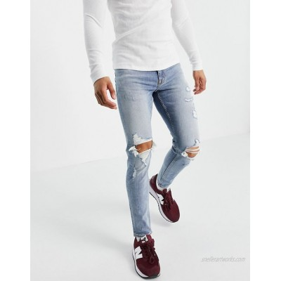 New Look skinny jeans with rips in light blue wash