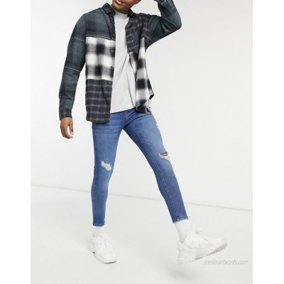 Pull&Bear super skinny jeans with rips IN MID BLUE