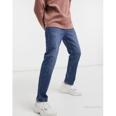 Bershka straight fit jeans in mid blue