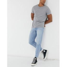 DESIGN classic rigid jeans in light blue wash with raw hem