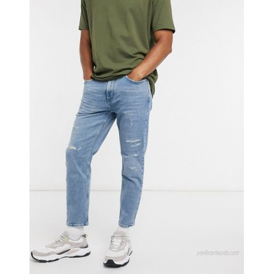 Pull&Bear slim tapered jeans with abrasions in light blue