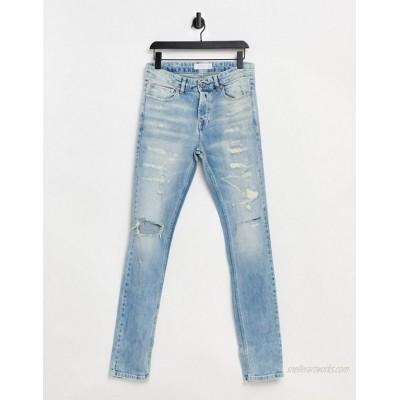 Topman organic cotton multi rip skinny jean in bleach