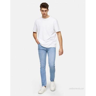 Topman organic cotton stretch skinny jeans in light wash