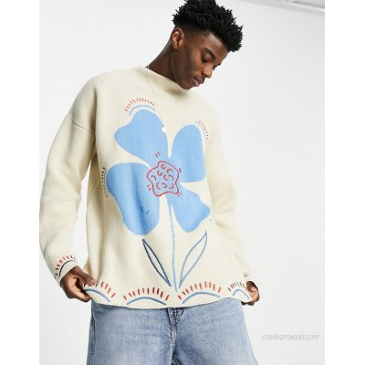 DESIGN knitted oversized sweater with embroidered floral design