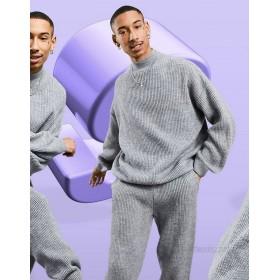 DESIGN knitted rib set in gray melange