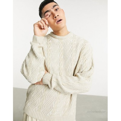 DESIGN oversized knitted plated cable sweater in beige