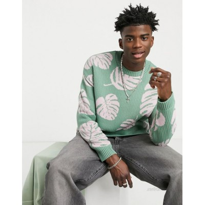 DESIGN oversized textured sweater with monstera leaf design in sage green