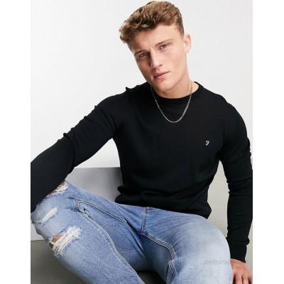 Farah crew neck knit sweater in black