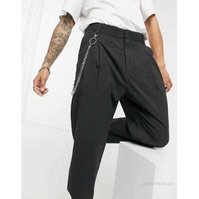 Bershka pants with chain in gray