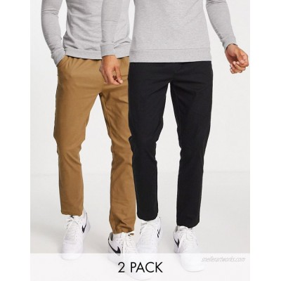 DESIGN 2 pack skinny chinos with elasticized waist in brown and black