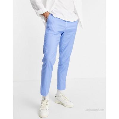 DESIGN skinny ankle grazer smart pants in blue