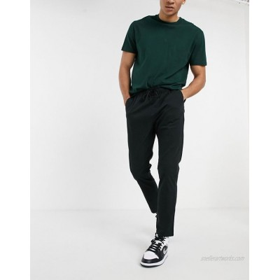 DESIGN skinny chinos with elastic waist in black