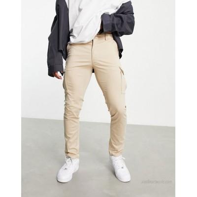 Jack & Jones Premium skinny stretch cargo pants in beige