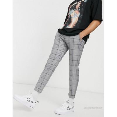 Pull&Bear skinny check pants in gray