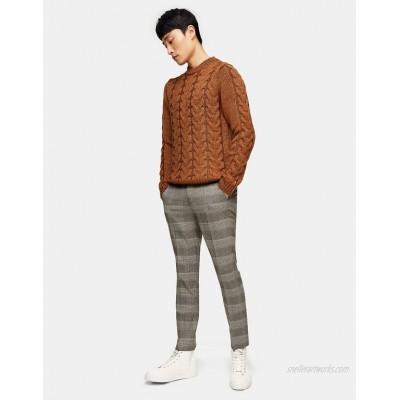 Topman skinny check pants in brown