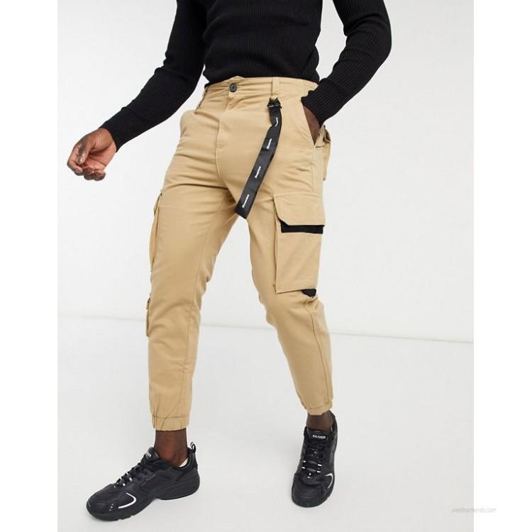 Bershka cargo pants with black trim detail in beige