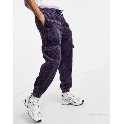 DESIGN cord pants in skater fit with acid wash