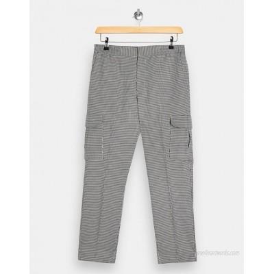Topman Pupstooth check straight leg cargo pants in black & white