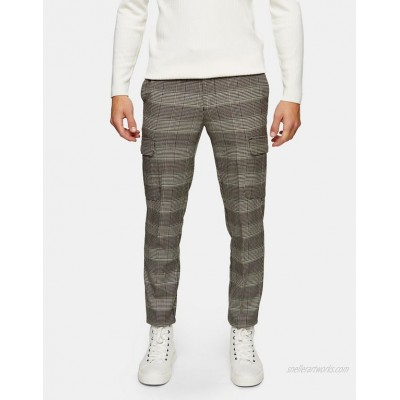 Topman stretch skinny cargo pants in neutral check