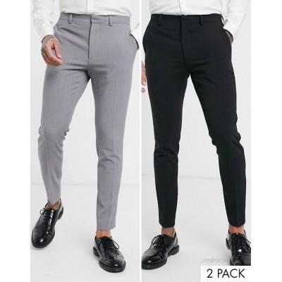 DESIGN 2 Pack super skinny pants in black and gray