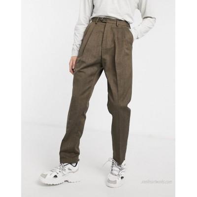 DESIGN high waist wide leg pants in brown stripe
