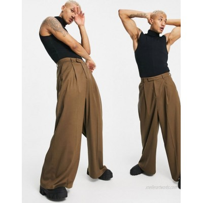 DESIGN high waisted extreme wide smart pants in rust