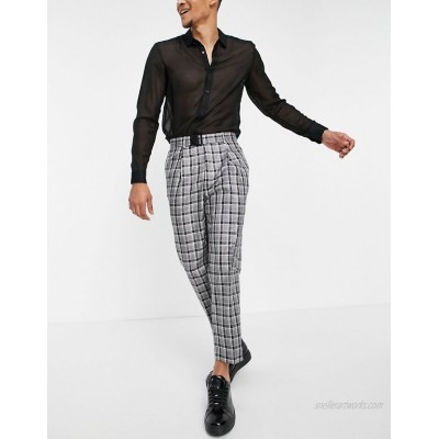 DESIGN tapered smart cargo pants in gray check with multi pockets