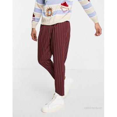 DESIGN tapered smart pants in burgundy stripe