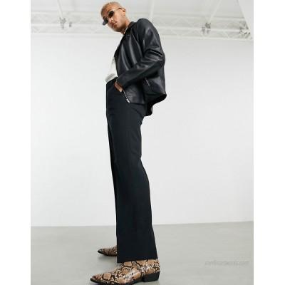DESIGN wide leg smart pants in black