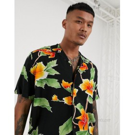 DESIGN relaxed fit revere shirt in large scale black and yellow floral