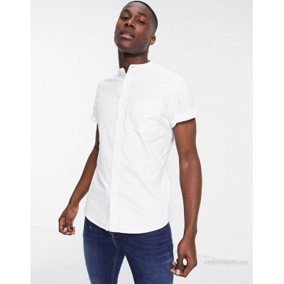 DESIGN slim fit oxford shirt with grandad collar in white