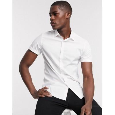 DESIGN stretch slim fit work shirt in white