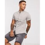 DESIGN stretch slim organic denim shirt with grandad collar in gray