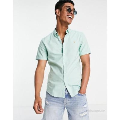 Farah Brewer organic cotton short sleeve shirt in green