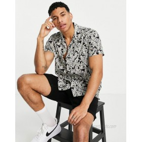 Selected Homme shirt with bird print in black
