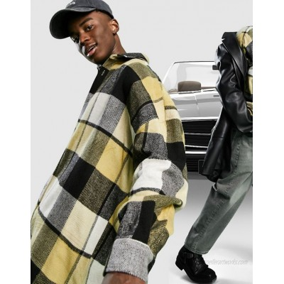 DESIGN extreme oversized wool mix check shirt in white and beige large scale