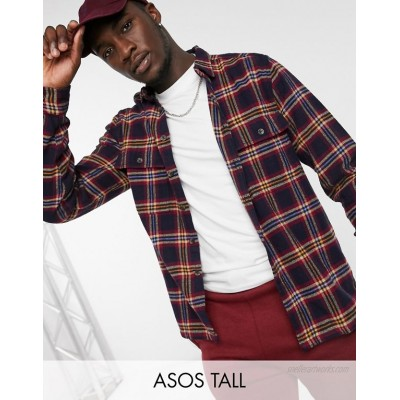 DESIGN Tall mixed tartan check overshirt in brushed flannel