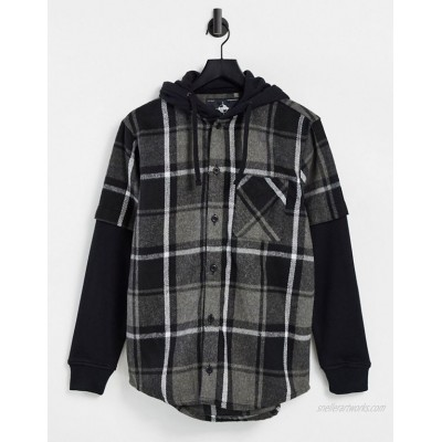 Pull&Bear checked overshirt with jersey sleeves & backprint