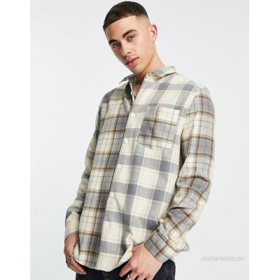 River Island check block shirt in gray