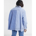 DESIGN extreme oversized contrast stripe shirt in blue and navy print
